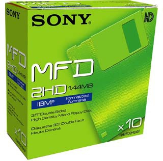 "Sony 10MFD 1.44MB 3.5"" DOS, 10pk 1.44MB"