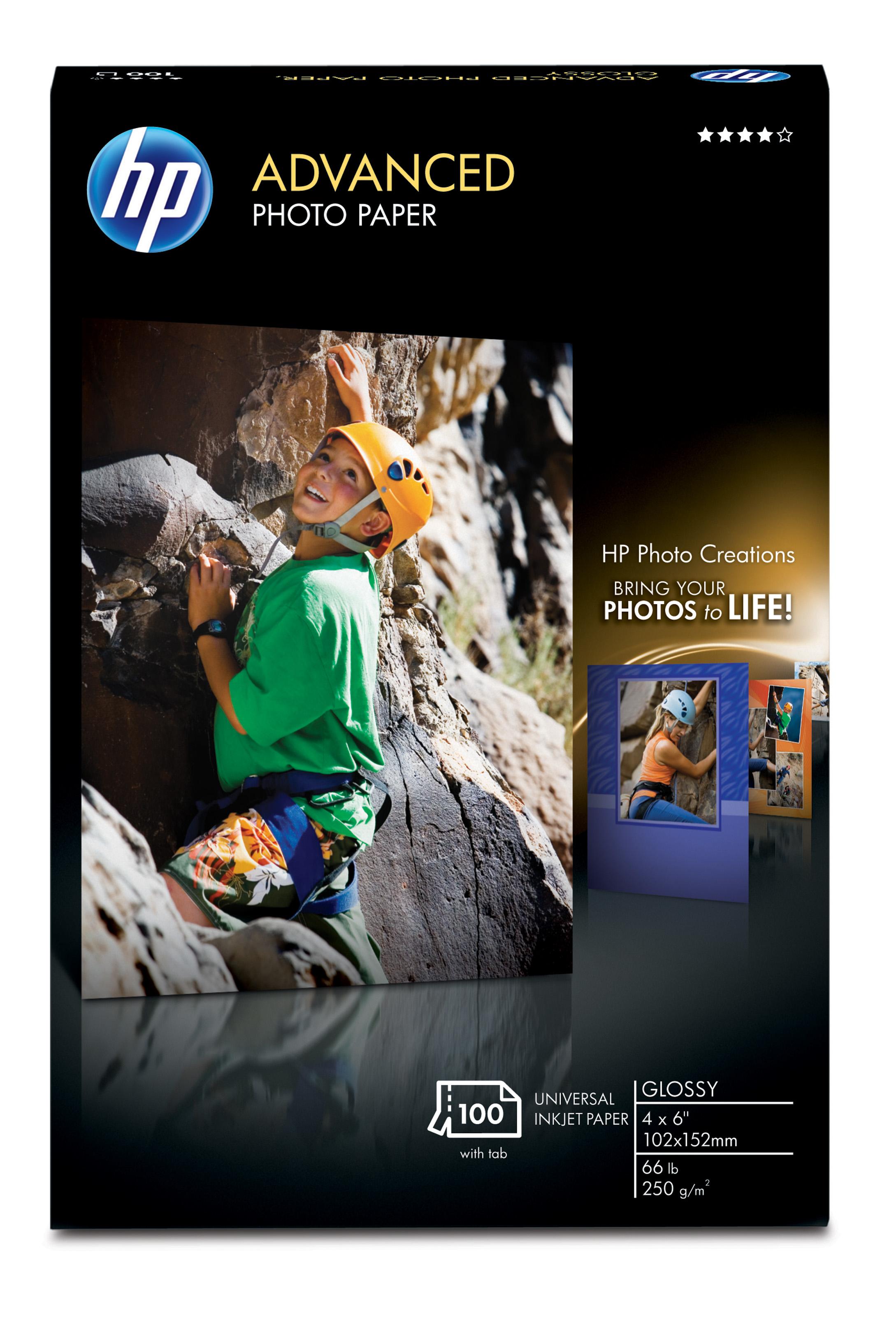 HP Advanced Glossy Photo Paper-100 sht/4 x 6 in borderless carta fotografica