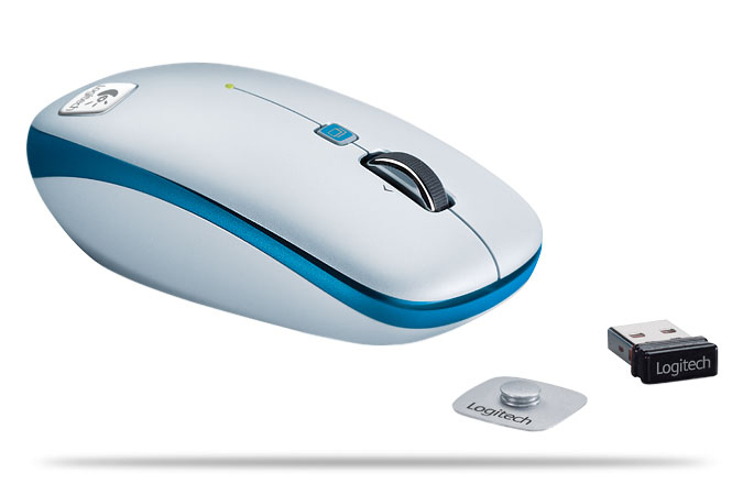 Logitech V550 Nano Blue Grey RF Wireless Laser mouse