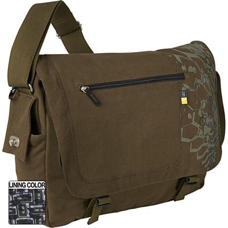 "Case Logic Canvas Messenger Bag 15.4"" Green 15.4"" Borsa da corriere Verde"