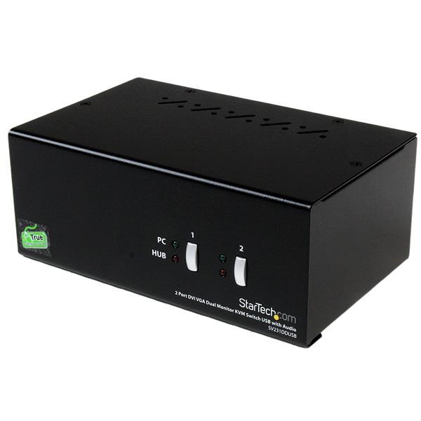 StarTech.com 2 Port StarView DVI/VGA USB KVM Switch w/ Audio Nero switch per keyboard-video-mouse (kvm)