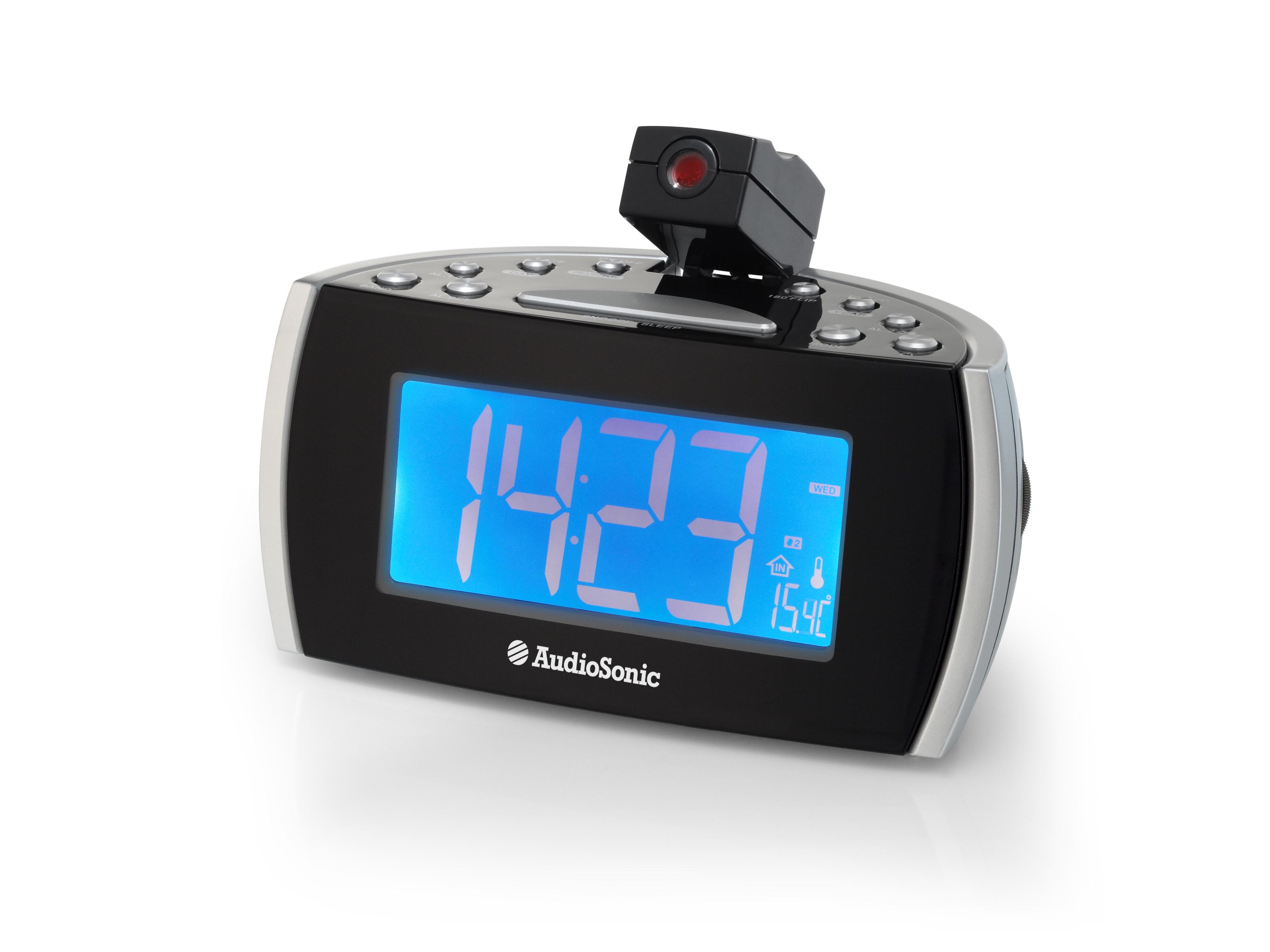 AudioSonic CL-1486 Orologio Nero, Argento radio
