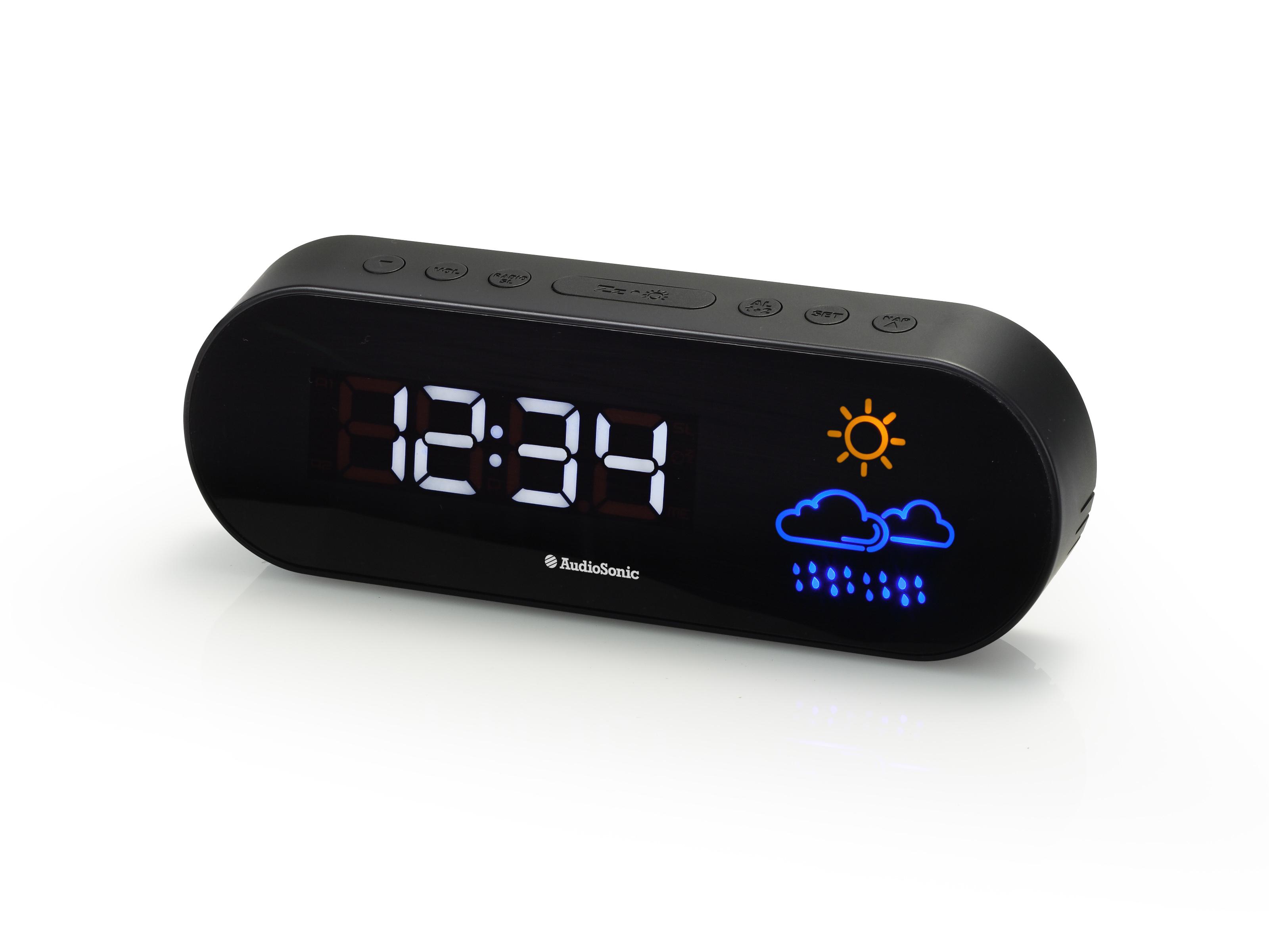 AudioSonic CL-1489 Orologio Digitale Nero radio