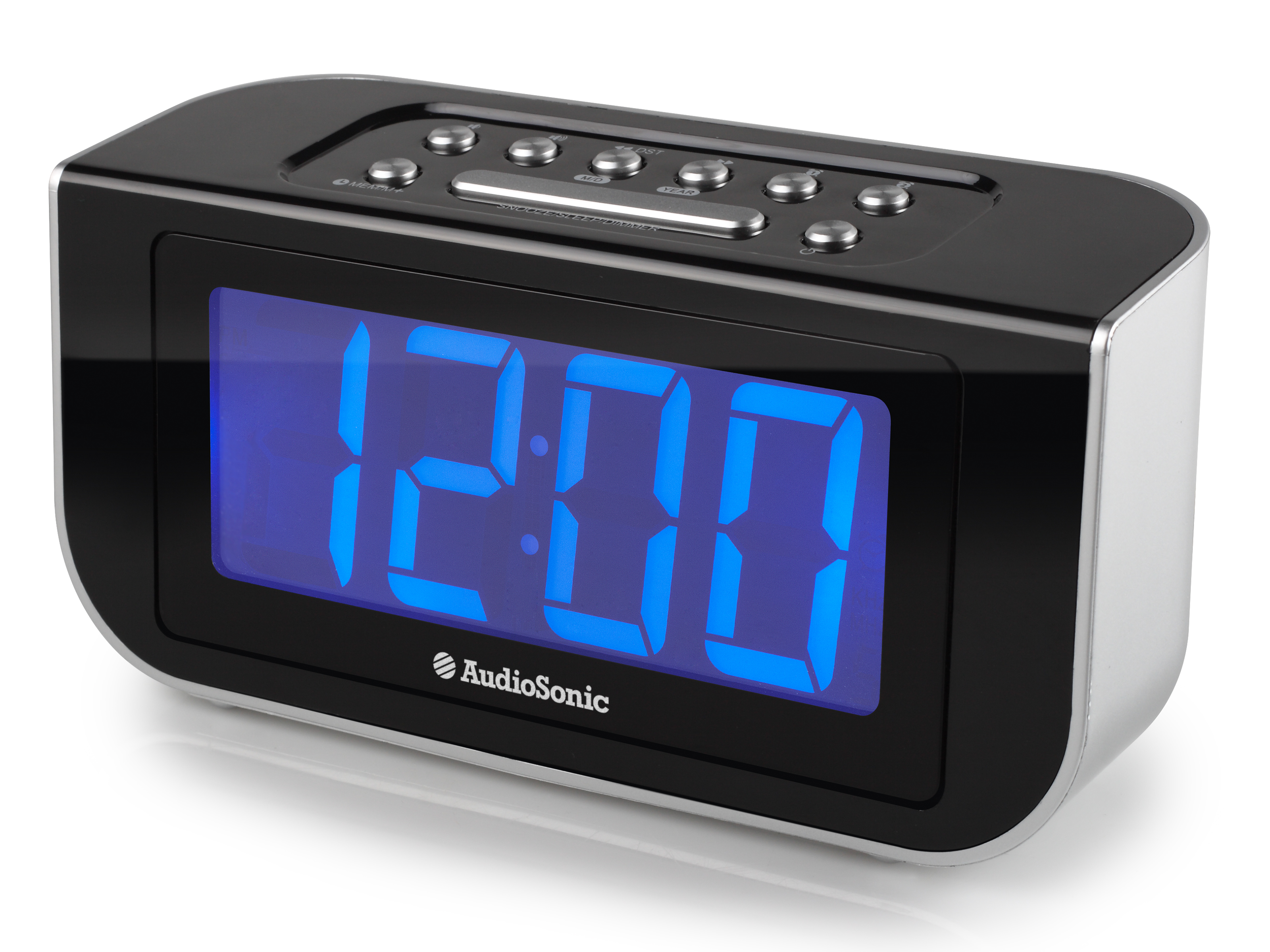 AudioSonic CL-1475 Orologio Digitale Nero, Argento radio