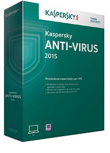 Kaspersky Lab Anti-Virus 2015, 3u, 1Y, ITA Full license 3utente(i) 1anno/i ITA