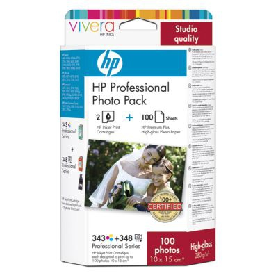 HP 343/348 Series Professional Photo Pack with Vivera Inks-10 x 15 cm/100 sht cartuccia d