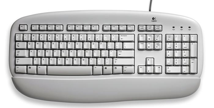 Logitech DeLuxe Keyboard, DE PS/2 Bianco tastiera
