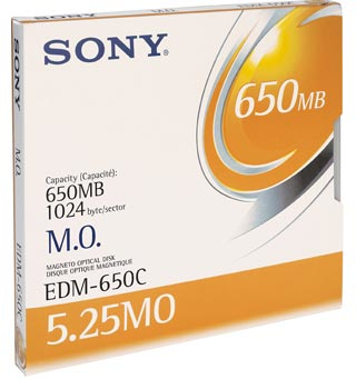 "Sony 5.25"" Magneto-Optical Disc, 650MB 650MB 5.25"" disco ottico-magnetico"