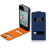 Macally Flip cover case for iPhone 4S/4 Custodia a libro Blu, Arancione