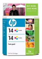 HP 14 2-pack Tri-color Ciano, Giallo cartuccia d
