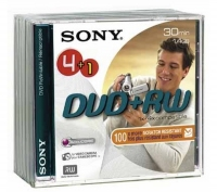 Sony DVD+RW, 1.4GB 30Min single side 4+1pk 1.4GB DVD+RW