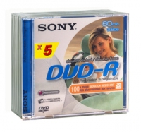 Sony DVD-R/Double sided 60Mn 5 pk 2.8GB DVD-R