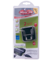 Cellularline DUAL USB POCKET CHARGER Interno Nero caricabatterie per cellulari e PDA