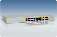 Allied Telesis 24-port 10/100/1000T stackable GE Switch w/ 4xSFP ports Gestito L2