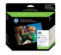 HP 02 Series Photo Value Pack-150 sht/4 x 6 in Nero, Ciano, Ciano chiaro, Magenta chiaro cartuccia d
