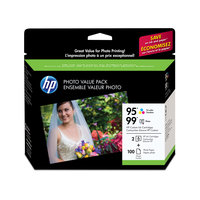 HP 95/99 Series Photo Value Pack-100 sht/4 x 6 in cartuccia d