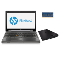 "HP EliteBook MOBILE WORKSTATION BUNDEL (LY572EA+2xH2P64ET+QK640ET) 8570w Quad-Core i7-3740QM 15.6""FHD met SSD en K2000M en Ultra Extended Life Battery en 16GB geheugen 2.7GHz i7-3740QM 15.6"" 1920 x 1080Pixel"