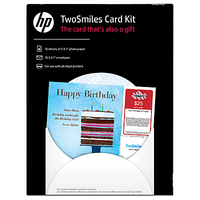 HP TwoSmiles Card Kit-10 sht/5 x 7-in with envelopes
