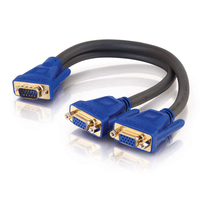 C2G Ultima HD15 Male to Dual HD15 Female SXGA Monitor Y-Cable 0.3m 2 x DVI-I DVI-I Nero, Blu cavo DVI