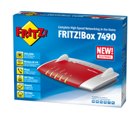 AVM FRITZ!Box 7490 A/CH Dual-band (2.4 GHz/5 GHz) Gigabit Ethernet 3G Rosso, Argento router wireless