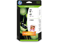 HP 62 2-pack Black/Tri-color Original Ink Cartridges Nero, Ciano, Giallo cartuccia d