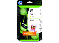 HP 301 2-pack Black/Tri-color Original Ink Cartridges Nero, Ciano, Giallo cartuccia d