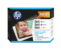 HP 564 Photo and Card Value Pack-50 sht/4 x 6 in and 20 sht/5 x 7 in cartuccia d