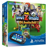 "Sony PS Vita 2000 + Invizimals: Gli Invincibili 5"" 1GB Touch screen Wi-Fi Nero console da gioco portatile"