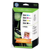 HP 364 4-pack Black/Cyan/Magenta/Yellow Original Ink Cartridges 250pagine 300pagine Nero, Ciano, Giallo cartuccia d
