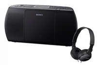 Sony ZS-PE40CPB + MDR-ZX110 Digitale 2W Nero radio CD