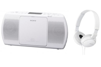 Sony ZS-PE40CPB + MDR-ZX110 Digitale 2W Bianco radio CD