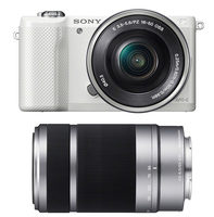 Sony a5000 + 16-50mm + 55 - 210mm MILC 20.1MP CMOS 5456 x 3632Pixel Bianco