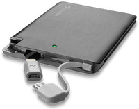 Cellularline Freepower Slim 2500 - Lightning/Micro USB Caricabatterie portatile ultra sottile Nero