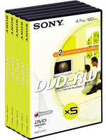 Sony DVD-RW 4.7GB 8xspd video box 5pk 4.7GB