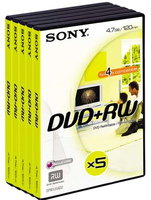 Sony DVD+RW 4.7GB video box 4x 5pk 4.7GB