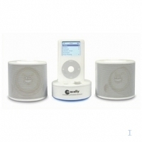 Macally Stereo speakers and charger for iPod/iPod mini/iPod photo w. EU power adapter 2W Bianco altoparlante