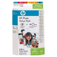 HP 110 Series Photo Value Pack with Vivera Inks-10 x 15 cm/120 sht cartuccia d