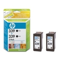 HP 339 Black Inkjet Print Cartridge 2-pack with Vivera Ink Nero cartuccia d