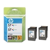 HP 57 Tri-colour Inkjet Print Cartridge 2-pack cartuccia d