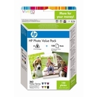 HP 363 Series Photo Value Pack with Vivera Inks-10 x 15 cm/150 sht Nero, Ciano, Ciano chiaro, Magenta chiaro, Giallo cartuccia d