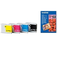 Brother 4x Ink Cartridges + Glossy Photo Paper cartuccia d