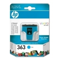 HP 363 Cyan Ink Cartridge with Vivera Ink Ciano cartuccia d