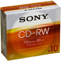 Sony 10 CD-RW 700 MB High-Speed media (4x-10x) CD-RW 700MB