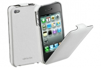 Cellularline Flap Case, iPhone 4 Bianco