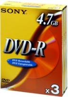 Sony DVD-R: write once disc, 3-pack Video Box