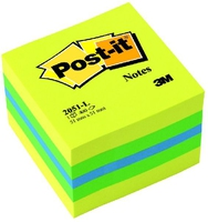 3M Post-it 51 x 51mm (400) Verde, Turchese, Giallo etichetta autoadesiva