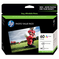 HP 60 Photo Value Pack-50 sht/4 x 6 in cartuccia d