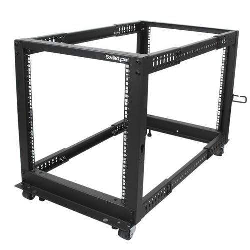 StarTech.com 12HE 4 Pfosten Open Frame Server Rack tiefenverstellbar mit Rollen / Nivellierfüße und Kabelverwaltung - 544